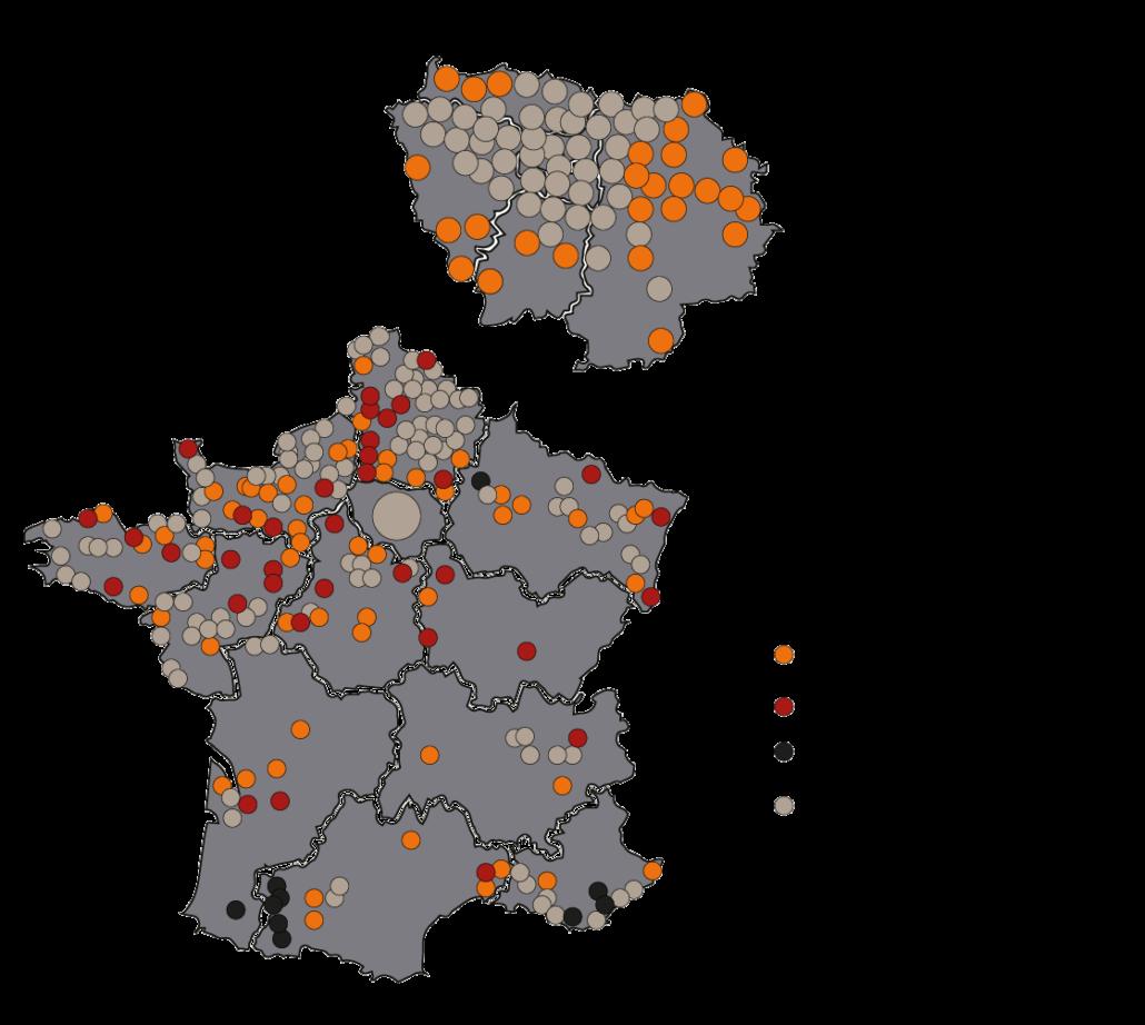 Carte de France représentant toutes nos références (clients).